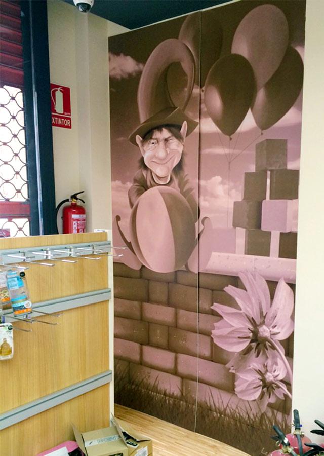 Mural con duende realizado para la Farmacia Gené | Frco. Javier Lekuona, Ilustración